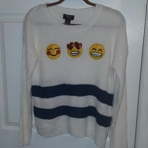 HOOKED UP EMOJI ONE CABLE KNIT SWEATER SIZE SMALL